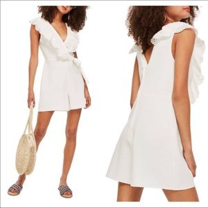 TopShop Sara Broderie ruffle lace romper NWT